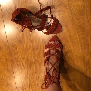 Raye Libby Lace-Up Terracotta Heels (6.5)